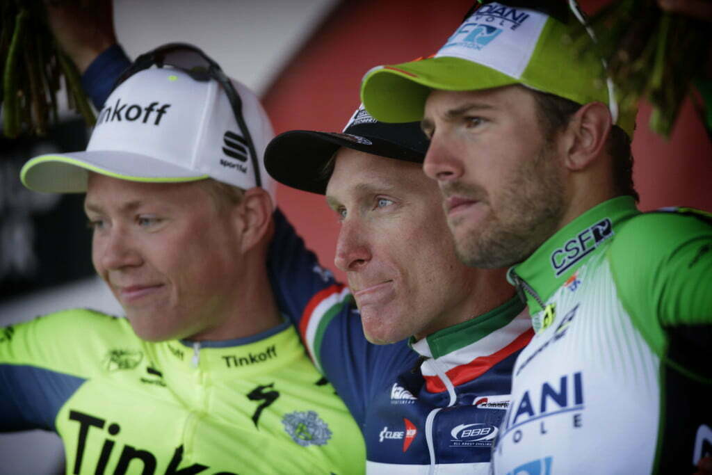 Valkenburg - Netherlands - wielrennen - cycling - radsport - cyclisme - Valgren Michael (Danmark / Team Tinkoff - Tinkov) - Gasparotto Enrico (Italy / Wanty - Groupe Gobert) - Colbrelli Sonny (Italy / Bardiani CSF) pictured during UCI World Tour race the Amstel Gold Race 2016 from Maastricht to Valkenburg, the Netherlands - photo Davy Rietbergen/Cor Vos © 2016