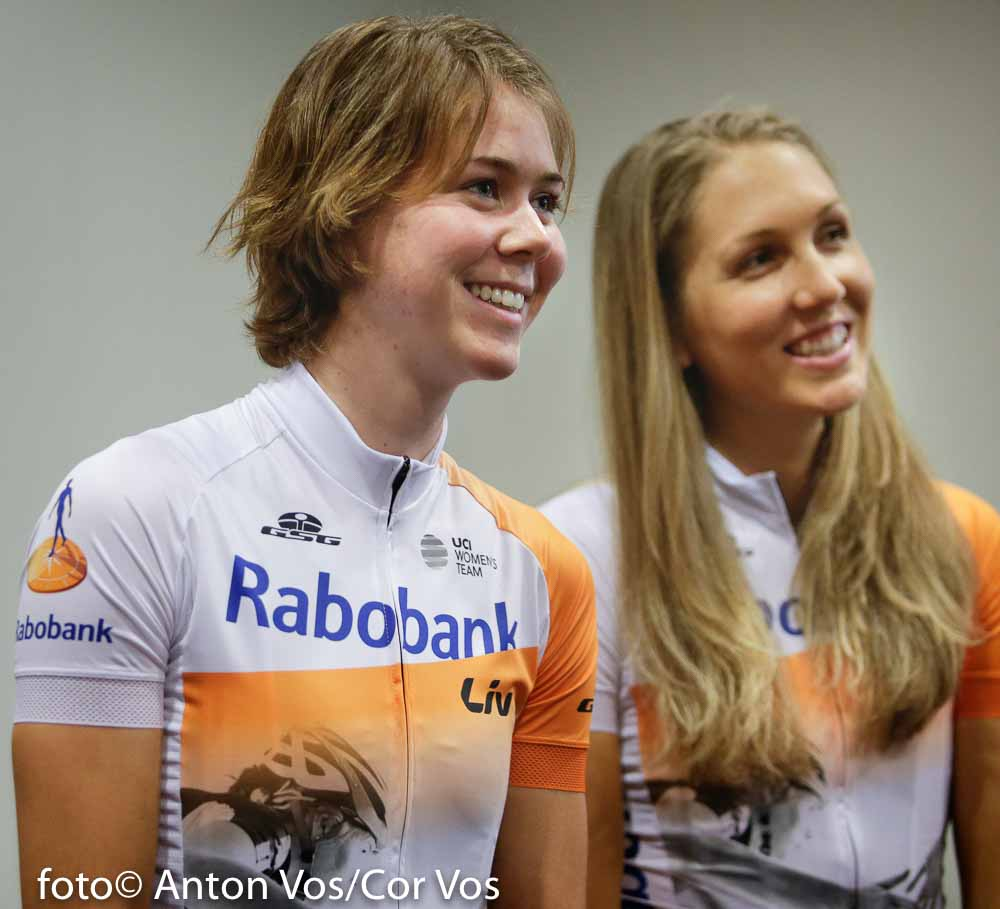 Papendal - Netherlands - wielrennen - cycling - radsport - cyclisme - Thalita de Jong of Rabobank Liv Women Cycling Team - Shara Gillow of Rabobank Liv Women Cycling Team pictured during team presentation Rabobank LIV women team in Papendal - photo Anton Vos/Cor Vos © 2016