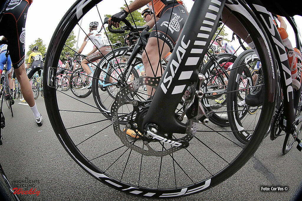 Breda - Netherlands - wielrennen - cycling - radsport - cyclisme - close-up disc brake on a ISAAC bike of theam Roompot Oranje peloton pictured during Stage -2 ENECO Tour 2015 from Breda to Breda, the Nerherlands - photo Davy Rietbergen/Cor Vos © 2015