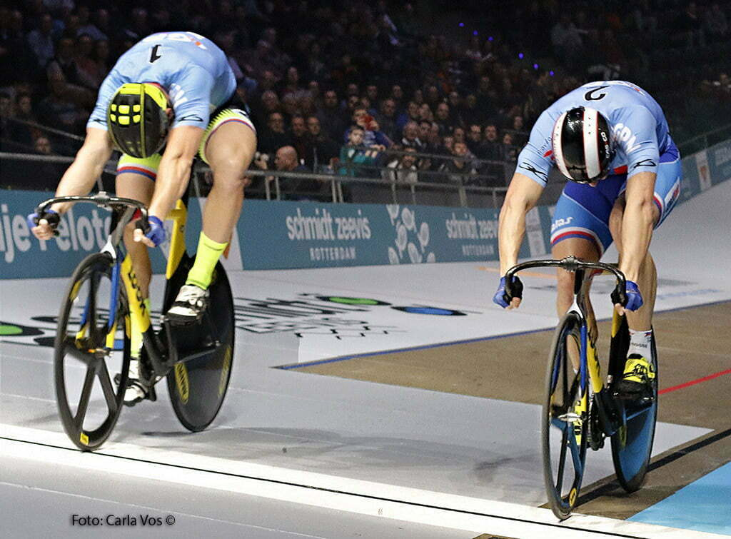 Rotterdam - wielrennen - cycling - radsport - cyclisme - sprinters - finish 1 Tomas Babek looses from 2 Robin Wagner (r) pictured during the Zesdaagse Rotterdam 2016 - foto Carla Vos/Cor Vos © 2016