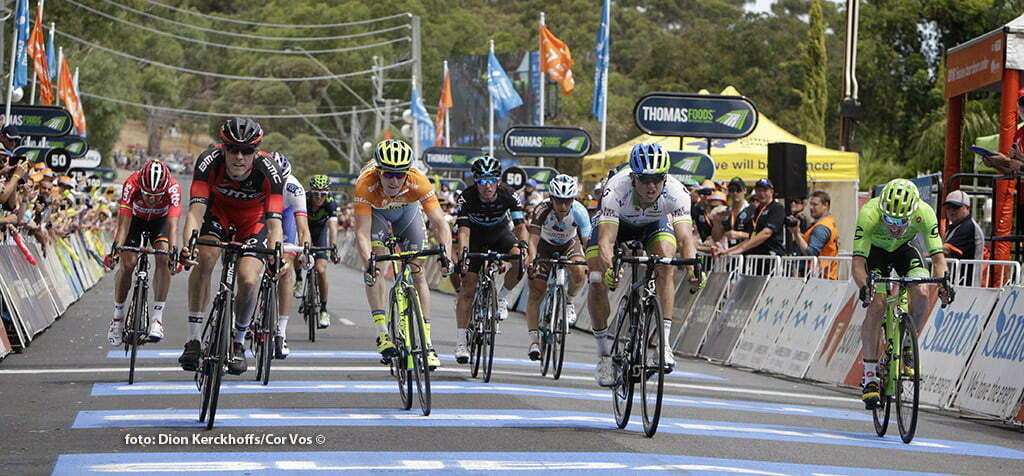 Campbelltown - Australia - wielrennen - cycling - radsport - cyclisme - Rohan Dennis (Australia / BMC Racing Team) - Jay Mccarthy (Australia / Team Tinkoff - Tinkov) - Simon Gerrans (Australia / Team Orica Greenedge) - Michael Woods (Canada / Cannondale Pro Cycling Team) pictured during Santos Tour Down Under 2016 stage 3 139 KM from Glenelg to Campbelltown - Australia - photo Dion Kerckhoffs/Cor Vos © 2016