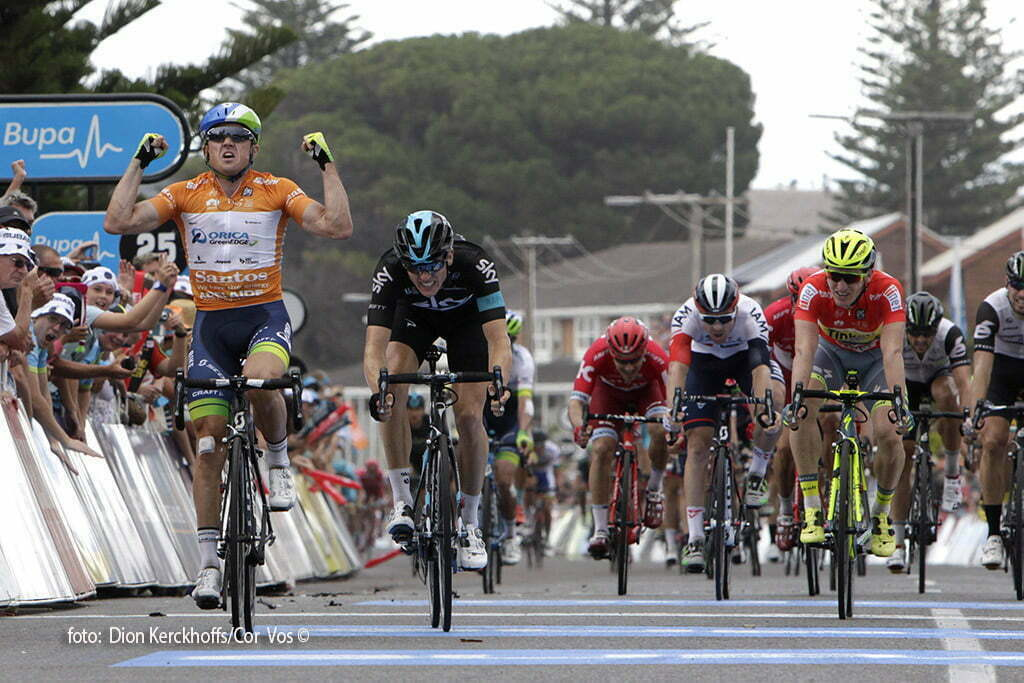 Victor Harbor - Australia - wielrennen - cycling - radsport - cyclisme - Simon Gerrans (Australia / Team Orica Greenedge) - Ben Swift (GBR / Team Sky) - Jay Mccarthy (Australia / Team Tinkoff - Tinkov) pictured during Santos Tour Down Under 2016 stage 4 138 KM from Norwood to Victor Harbor - Australia - photo Dion Kerckhoffs/Cor Vos © 2016