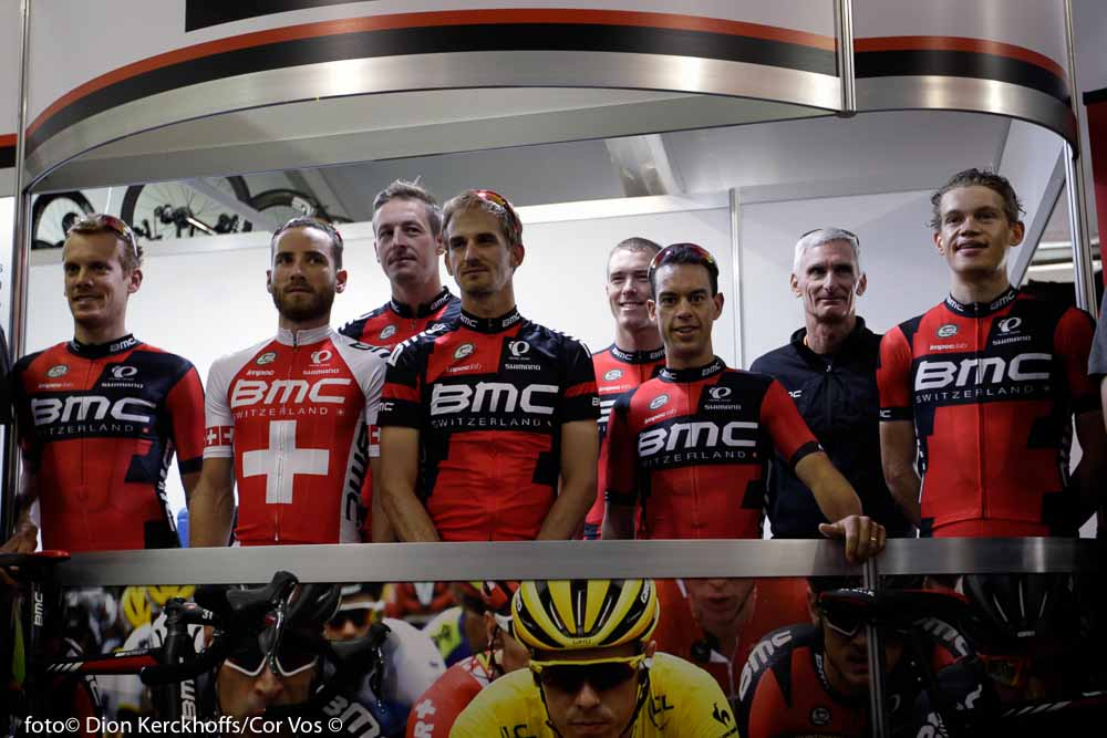 Adelaide - Australia - wielrennen - cycling - radsport - cyclisme - Alessandro De Marchi (Italie / BMC Racing Team) - Danilo Wyss (Suisse / BMC Racing Team - Burghardt Marcus (Germany / BMC Racing Team) - Velits Peter (Slowakia / BMC Racing Team) - Rohan Dennis (Australia / BMC Racing Team) - Richie Porte (Australien / BMC Racing Team) - Floris Gerts (Netherlands / BMC Racing Team) pictured during the day's before the start of the Santos Tour Down Under 2016 - photo Dion Kerckhoffs/Cor Vos © 2016