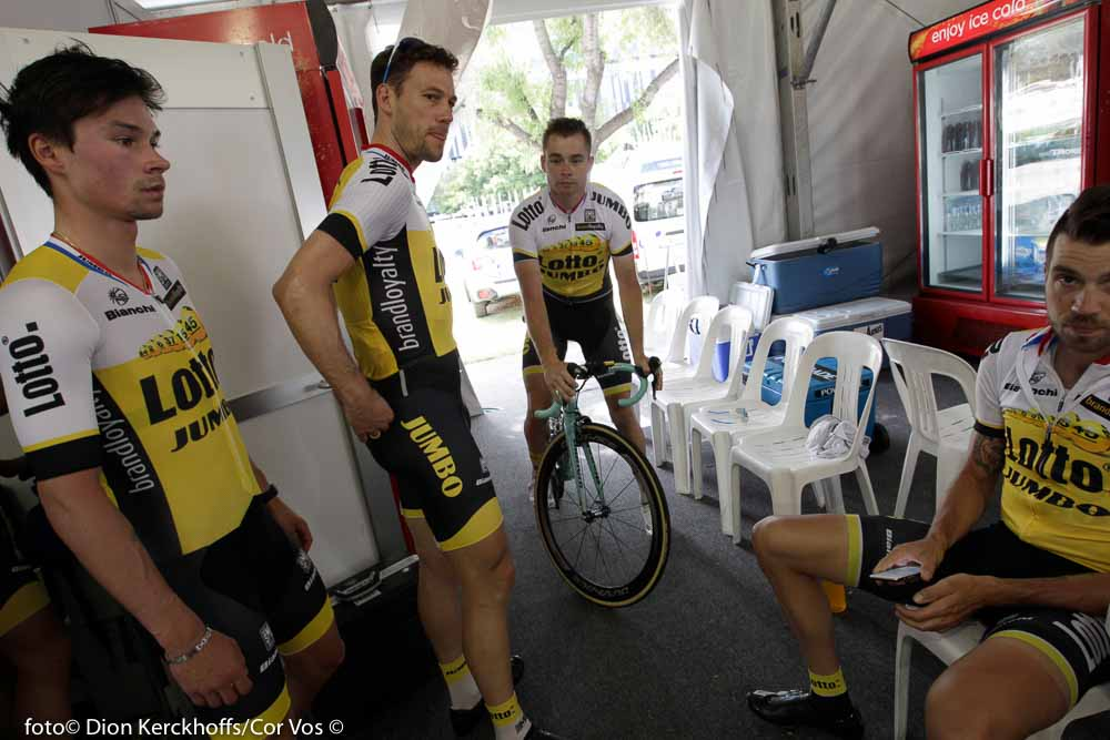 Adelaide - Australia - wielrennen - cycling - radsport - cyclisme - Primoz Roglic (Slowenia / Team Lotto Nl - Jumbo) - Maarten Tjallingii (Netherlands / Team Lotto Nl - Jumbo) - Bertjan Lindeman (Netherlands / Team Lotto Nl - Jumbo) - Martijn Keizer (Netherlands / Team Lotto Nl - Jumbo) pictured during the day's before the start of the Santos Tour Down Under 2016 - photo Dion Kerckhoffs/Cor Vos © 2016