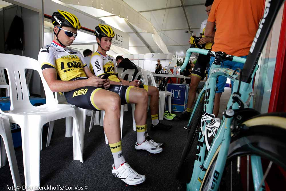 Adelaide - Australia - wielrennen - cycling - radsport - cyclisme - Bertjan Lindeman (Netherlands / Team Lotto Nl - Jumbo) - Primoz Roglic (Slowenia / Team Lotto Nl - Jumbo) pictured during the day's before the start of the Santos Tour Down Under 2016 - photo Dion Kerckhoffs/Cor Vos © 2016