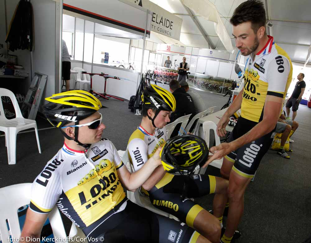 Adelaide - Australia - wielrennen - cycling - radsport - cyclisme - Bertjan Lindeman (Netherlands / Team Lotto Nl - Jumbo) - Primoz Roglic (Slowenia / Team Lotto Nl - Jumbo) - Martijn Keizer (Netherlands / Team Lotto Nl - Jumbo) pictured during the day's before the start of the Santos Tour Down Under 2016 - photo Dion Kerckhoffs/Cor Vos © 2016