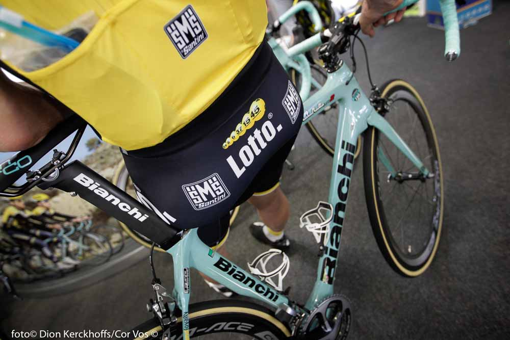 Adelaide - Australia - wielrennen - cycling - radsport - cyclisme - illustration - sfeer - illustratie Bianchi bike Lotto Nl - Jumbo pictured during the day's before the start of the Santos Tour Down Under 2016 - photo Dion Kerckhoffs/Cor Vos © 2016