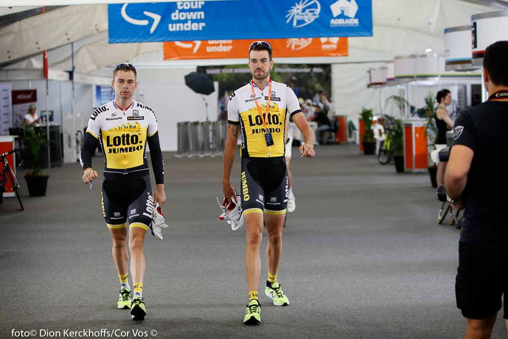 Adelaide - Australia - wielrennen - cycling - radsport - cyclisme - Bertjan Lindeman (Netherlands / Team Lotto Nl - Jumbo) - Martijn Keizer (Netherlands / Team Lotto Nl - Jumbo) pictured during the day's before the start of the Santos Tour Down Under 2016 - photo Dion Kerckhoffs/Cor Vos © 2016