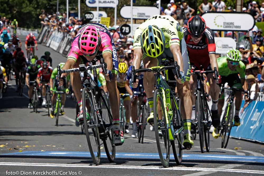 Stirling - Australia - wielrennen - cycling - radsport - cyclisme - Diego Ulissi (Italie / Team Lampre - Merida) - Jay Mccarthy (Australia / Team Tinkoff - Tinkov) pictured during Santos Tour Down Under 2016 stage 2 132 KM from Unley to Stirling - Australia - photo Dion Kerckhoffs/Cor Vos © 2016