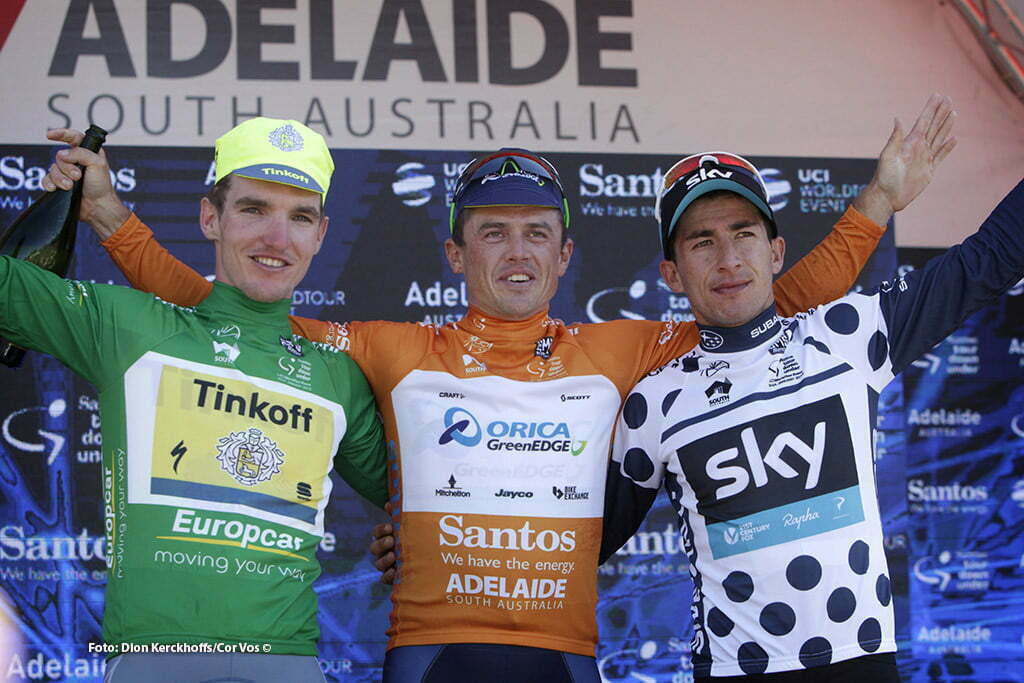 Adelaide - Australia - wielrennen - cycling - radsport - cyclisme - Jay Mccarthy (Australia / Team Tinkoff - Tinkov) - Simon Gerrans (Australia / Team Orica Greenedge) - Sergio Luis Henao Montoya (Columbia / Team Sky) pictured during Santos Tour Down Under 2016 stage 6 - 90 KM from Adelaide - Adelaide - Australia - photo Dion Kerckhoffs/Cor Vos © 2016