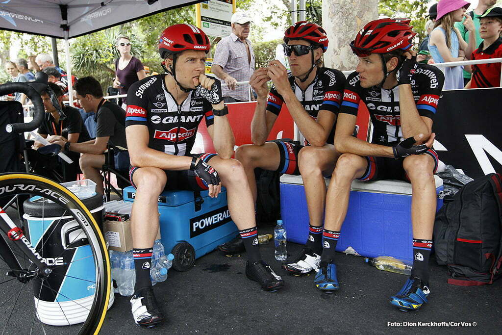 Adelaide - Australia - wielrennen - cycling - radsport - cyclisme - Bert De Backer (Belgium / Team Giant - Alpecin) - Tobias Ludvigsson (Schweden / Team Giant - Alpecin) - Georg Preidler (Austria / Team Giant - Alpecin) pictured during Santos Tour Down Under 2016 stage 6 - 90 KM from Adelaide - Adelaide - Australia - photo Dion Kerckhoffs/Cor Vos © 2016