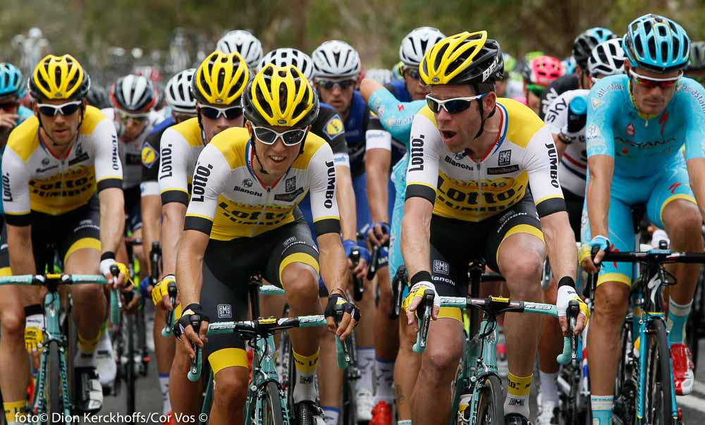Lyndoch - Australia - wielrennen - cycling - radsport - cyclisme - George Bennett (N. Seeland / Team Lotto Nl - Jumbo) - Bram Tankink (Netherlands / Team Lotto Nl - Jumbo) pictured during Santos Tour Down Under 2016 stage 1 130.8 KM from Prospect to Lyndoch - Australia - photo Dion Kerckhoffs/Cor Vos © 2016