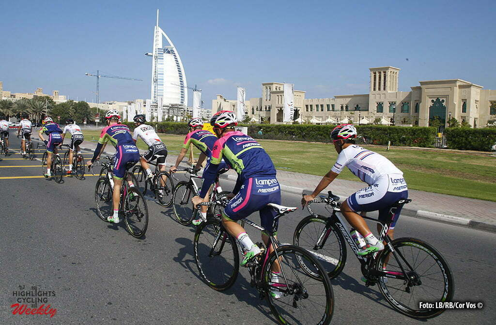 Dubai - wielrennen - cycling - radsport - cyclisme - illustration - sfeer - illustratie team Lampre - Merida pictured during training Dubai Tour 2016 - Dubai - 02/02/2016 - photo RB/Cor Vos © 2016