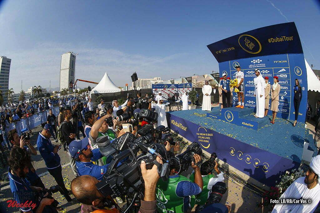 Fujairah - Emirates - wielrennen - cycling - radsport - cyclisme - illustration - sfeer - illustratie podium ceremony awards pictured during Dubai Tour 2016 - stage 1 from Dubai Silicon Oasis Stage Dubai to Fujairah 173 Km - photo LB/RB/Cor Vos © 2016