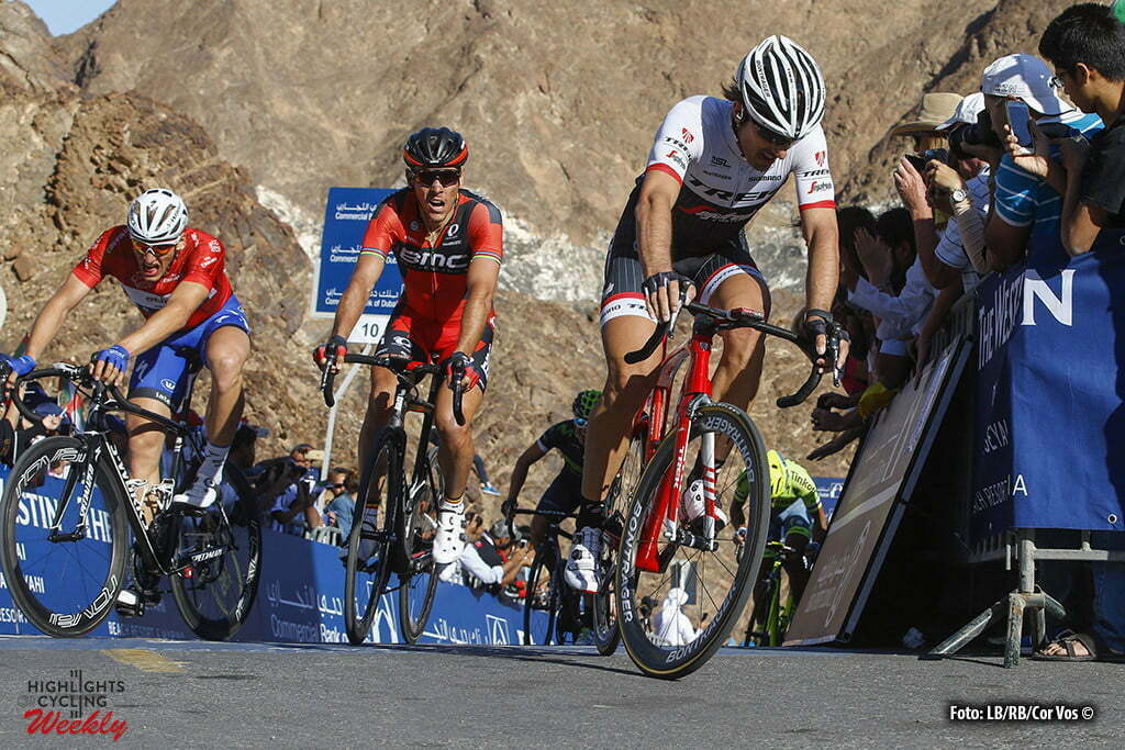 Hatta Dam - Emirates - wielrennen - cycling - radsport - cyclisme - Fabian Cancellara (Trek - Segafredo) - Philippe Gilbert (Belgium / BMC Racing Team) pictured during Dubai Tour 2016 - stage 3 from The Westin Stage Dubai - Hatta Dam 172 Km - 05/02/2016 - photo LB/RB/Cor Vos © 2016