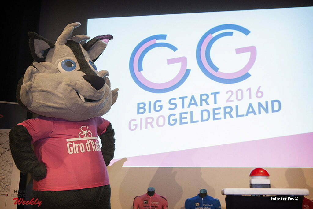 Arnhem - Papendal - Netherlands - wielrennen - cycling - radsport - cyclisme - mascotte Lupo Wolfie pictured during the Kick-off 99 days till start of Giro D'Italia 2016 in Apeldoorn, the Netherlands - photo Cor Vos © 2016