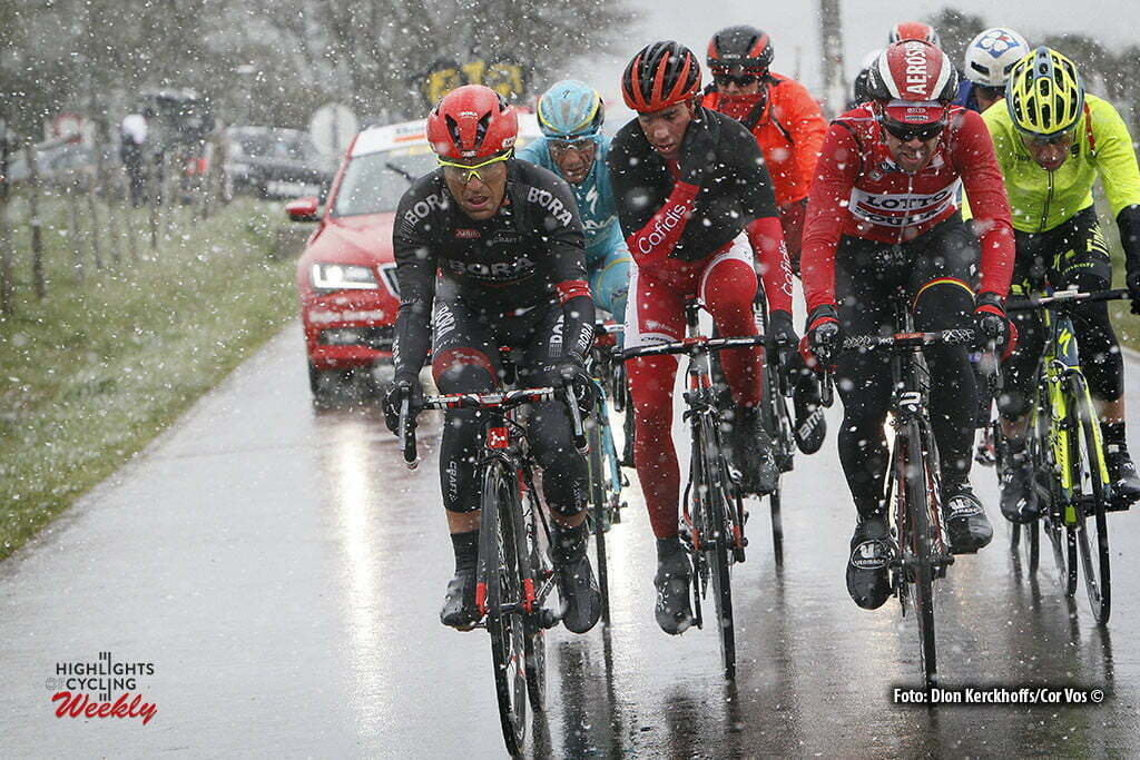 Luik - Belgium - wielrennen - cycling - radsport - cyclisme - illustration - sfeer - illustratie snow Benedetti Cesare (Italy / Bora Argon 18) - - Thomas De Gendt (Belgium / Team Lotto Soudal) pictured during Liege - Bastogne - Liege 2016 - photo Dion Kerckhoffs/Davy Rietbergen/Cor Vos © 2016