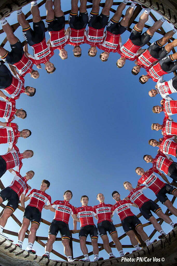 Palma de Mallorca - Spain - wielrennen - cycling - radsport - cyclisme - illustration - sfeer - Team Lotto - Soudal 2016 posing for a team photo shoot, during the team training winter session of the Lotto - Soudal cycling team 2016 in Palma de Mallorca, Spain - photo NV/PN/Cor Vos © 2015