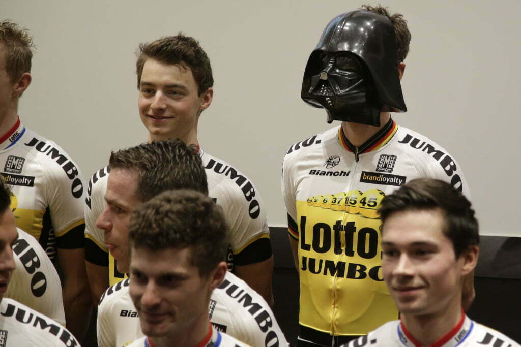 's Hertogenbosch - Netherlands - wielrennen - cycling - radsport - cyclisme - pictured during team presentation Team The man the mask Robert Wagner (Team LottoNL - Jumbo) LottoNL - Jumbo - photo Davy Rietbergen/Cor Vos © 2015