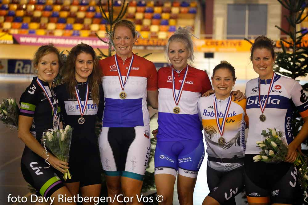 Alkmaar - Netherlands - wielrennen - cycling - radsport - cyclisme - Amy Pieters - Kelly Markus - Kirsten Wild - Nina Kessler - Roxane Knetemann - Vera Koedooder pictured during Dutch National Track Championships in Alkmaar, the Netherlands - photo Davy Rietbergen/Cor Vos © 2015