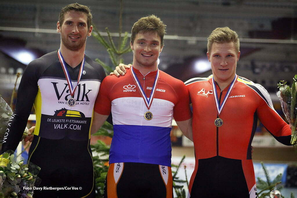Hugo Haak - Matthijs Buchli - Jeffery Hoogland pictured during Dutch National Track Championships in Alkmaar. photo Davy Rietbergen/Cor Vos © 2015