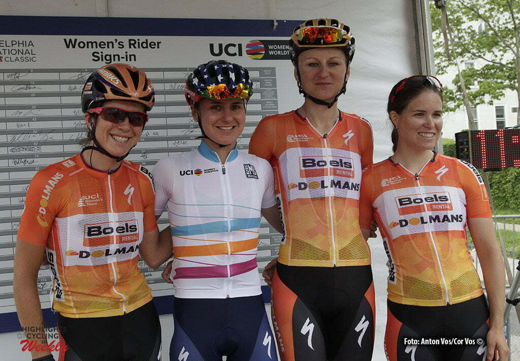 Philadelphia - USA - wielrennen - cycling - radsport - cyclisme - Stevens Evelyn (USA / Boels Dolmans Cycling Team) - Guarnier Megan (USA / Boels Dolmans Cycling Team) - Pawlowska Katarzyna Kasia (Poland / Boels Dolmans Cycling Team) - Karol-Ann Canuel (Canada / Boels Dolmans Cycling Team) pictured during the UCI Women's World Tour cycling race in Philadelphia - photo Anton Vos/Cor Vos © 2016