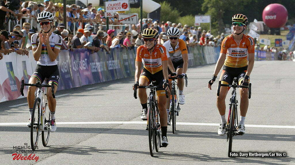 Plouay - France - wielrennen - cycling - radsport - cyclisme - Armitstead Elizabeth Lizzie (Great Britain / Boels Dolmans Cycling Team) - Stevens Evelyn (USA / Boels Dolmans Cycling Team) - Harris Nikki (Great Britain / Boels Dolmans Cycling Team) pictured during worldtour cycling race for women elite GP Ouest France - Plouay 2016 - photo Davy Rietbergen/Cor Vos © 2016