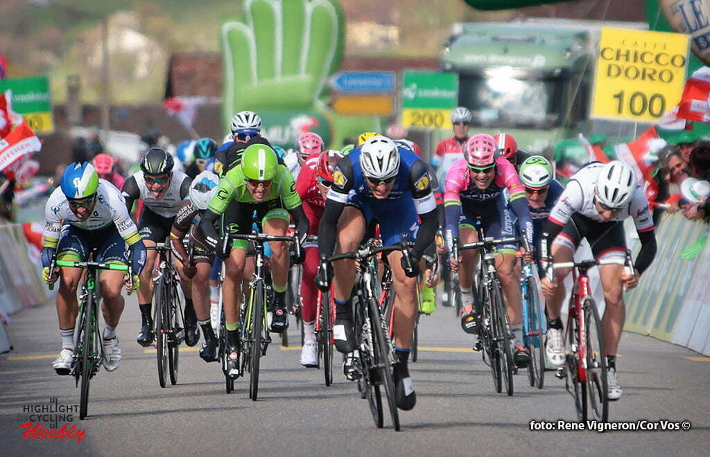 Moudon - Suisse - wielrennen - cycling - radsport - cyclisme - Kittel Marcel (Germany / Team Etixx - Quick Step) - Bonifazio Niccolo (Italie / Trek Factory Racing) - Albasini Michael (Suisse / Team Orica Greenedge) pictured during the Tour of Romandie - stage 1 from Mathod to Moudon - photo Rene Vigneron/Cor Vos © 2016