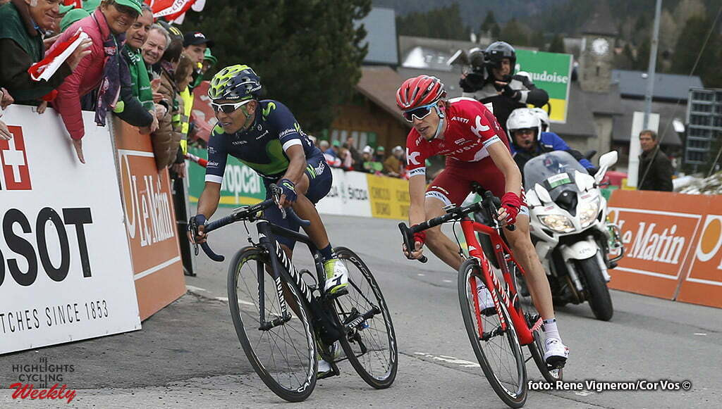 Mourgins - Suisse - wielrennen - cycling - radsport - cyclisme - Quintana Rojas Nairo Alexander (Columbia / Team Movistar) - Zakarin Aydar (Russia / Rusvelo) pictured during the Tour of Romandie - stage 2 from Moudon to Mourgins - photo Rene Vigneron/Cor Vos © 2016