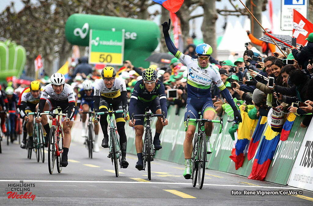 Geneve - Suisse - wielrennen - cycling - radsport - cyclisme - Albasini Michael (Suisse / Team Orica Greenedge) - Andrey Amador (Movistar) - Wilco Kelderman (LottoNL - Jumbo) pictured during the Tour of Romandie - stage 5 from Ollon to Geneve - photo Rene Vigneron/Cor Vos © 2016