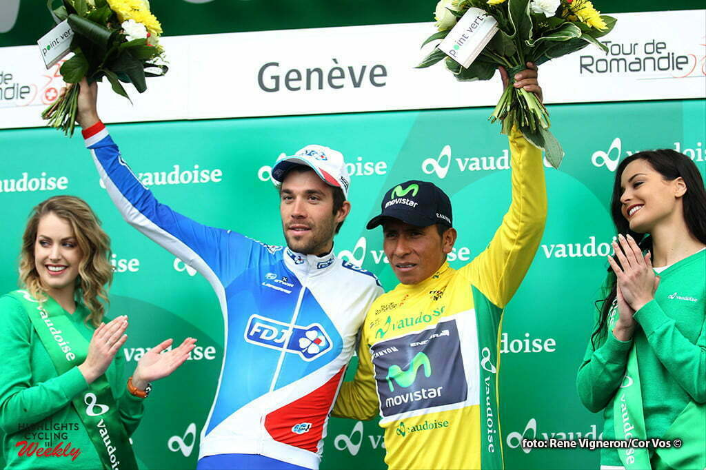 Geneve - Suisse - wielrennen - cycling - radsport - cyclisme - Pinot Thibaut (France / Team FDJ) - Nairo Alexander Quintana Rojas (Columbia / Team Movistar) pictured during the Tour of Romandie - stage 5 from Ollon to Geneve - photo Rene Vigneron/Cor Vos © 2016