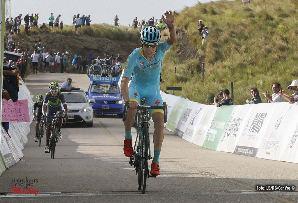 Filo de la Sierra de Comechingones - Argentina - wielrennen - cycling - radsport - cyclisme - Miguel Angel Lopez (Astana) celebrates his win pictured during Tour San Luis 2016 stage 6 - 159.9 KM - From La Toma to Filo de la Sierra de Comechingones - Argentina - photo LB/RB/Cor Vos © 2016
