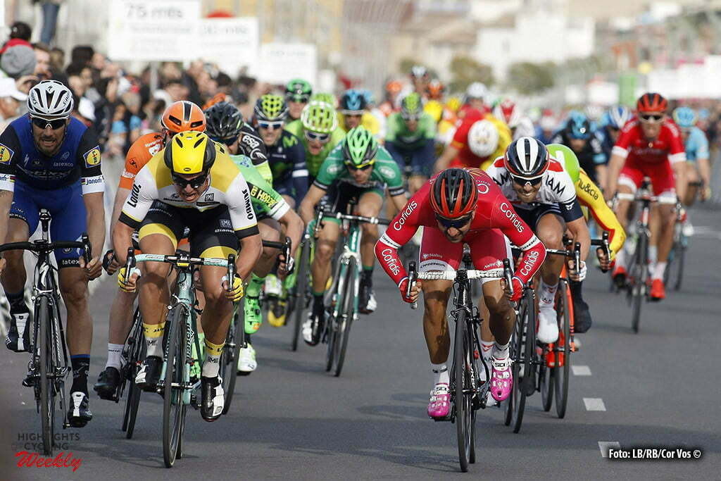 Alzira - Spain - wielrennen - cycling - radsport - cyclisme - Dylan Groenewegen (LottoNL - Jumbo) - Nacer Bouhanni (Cofidis) pictured during Volta a la Comunitat Valenciana 2016 - stage-3 Sagunto - Alzira 173.5 km - 05/02/2016 - photo LB/RB/Cor Vos © 2016