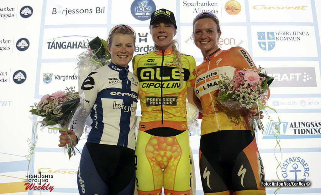 Vargarda - Sweden - wielrennen - cycling - radsport - cyclisme - Fahlin Emilia (Sweden / Ale - Cipollini) - Lepisto Lotta (Finland / Cervelo Bigla) - Blaak Chantal (Netherlands / Boels Dolmans Cycling Team) pictured during Crescent Women World Tour Vargarda roadrace 2016 - photo Anton Vos/Cor Vos © 2016