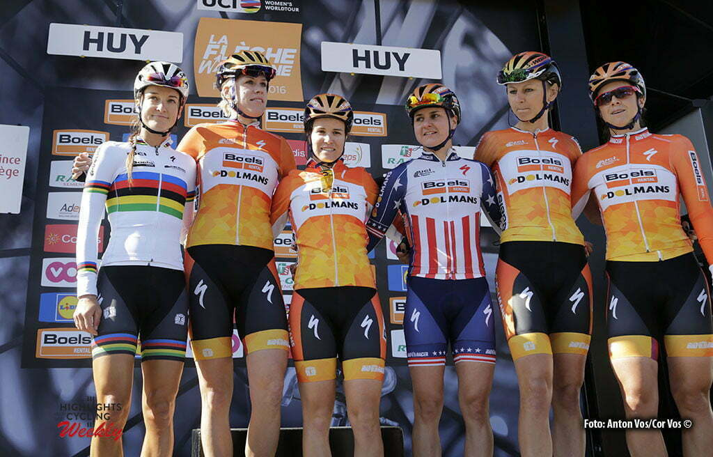 Huy - Belgium - wielrennen - cycling - radsport - cyclisme - Elizabeth Lizzie Armitstead - Ellen van Dijk - Canuel Karol-Ann - Megan Guarnier - Pawlowska Katarzyna Kasia and Evelyn Stevens (Boels Dolmans Cycling Team) pictured during Fleche Wallonne women - photo Anton Vos/Cor Vos © 2016