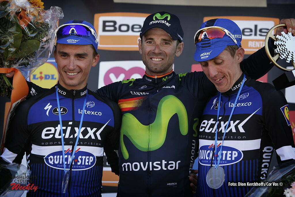 Huy - Belgium - wielrennen - cycling - radsport - cyclisme - Valverde Belmonte Alejandro (Spain / Team Movistar) - Alaphilippe Julian (France / Team Etixx - Quick Step) - Martin Daniel (Irland / Team Etixx - Quick Step) - Poels Wout (Netherlands / Team Sky) pictured during Fleche Wallonne 2016 - photo Dion Kerckhoffs/Cor Vos © 2016