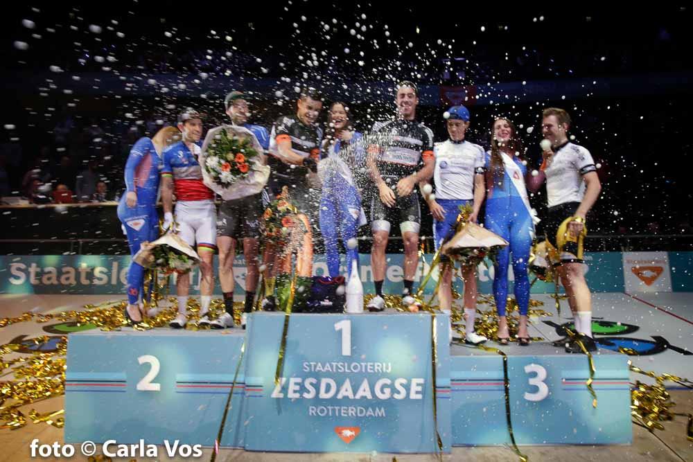 Rotterdam - wielrennen - cycling - radsport - cyclisme - Morgan Kneisky - Christian Grasmann - Alberto Torres - Sebastian Mota Vedri - Niki Terpstra and Yoeri Havik pictured during the Zesdaagse Rotterdam 2016 day 6 - foto Carla Vos/Cor Vos © 2016