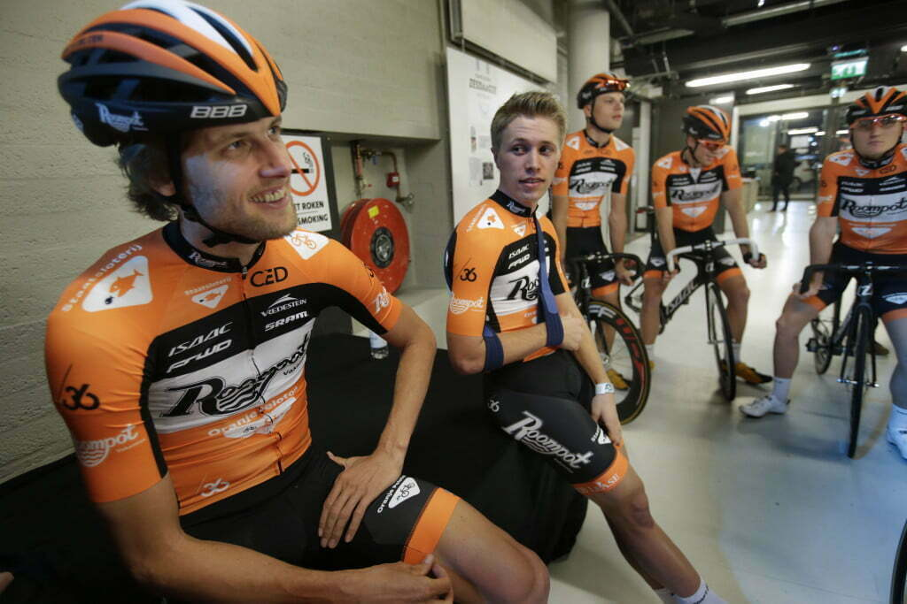 Rotterdam - Netherlands - wielrennen - cycling - radsport - cyclisme - Marc De Maar (Orange Cycling Team Roompot) - Maurits Lammertink (Orange Cycling Team Roompot) presentation Team Roompot/Oranjepeloton pictured during Sixdays of Rotterdam 2016 - photo Wessel van Keuk/Cor Vos © 2015