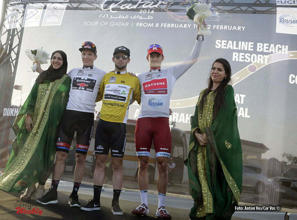 Madinat Al Shamal - Qatar - wielrennen - cycling - radsport - cyclisme - Cavendish Mark (GBR / Team Dimension Data) - Kristoff Alexander (Norway / Team Katusha) - Kragh Andersen Soeren (Danmark / Team Giant - Alpecin) pictured during Tour of Qatar Elite - Stage 4 from Al Zubarah to Madinat Al Shamal - photo Anton Vos/Cor Vos © 2016
