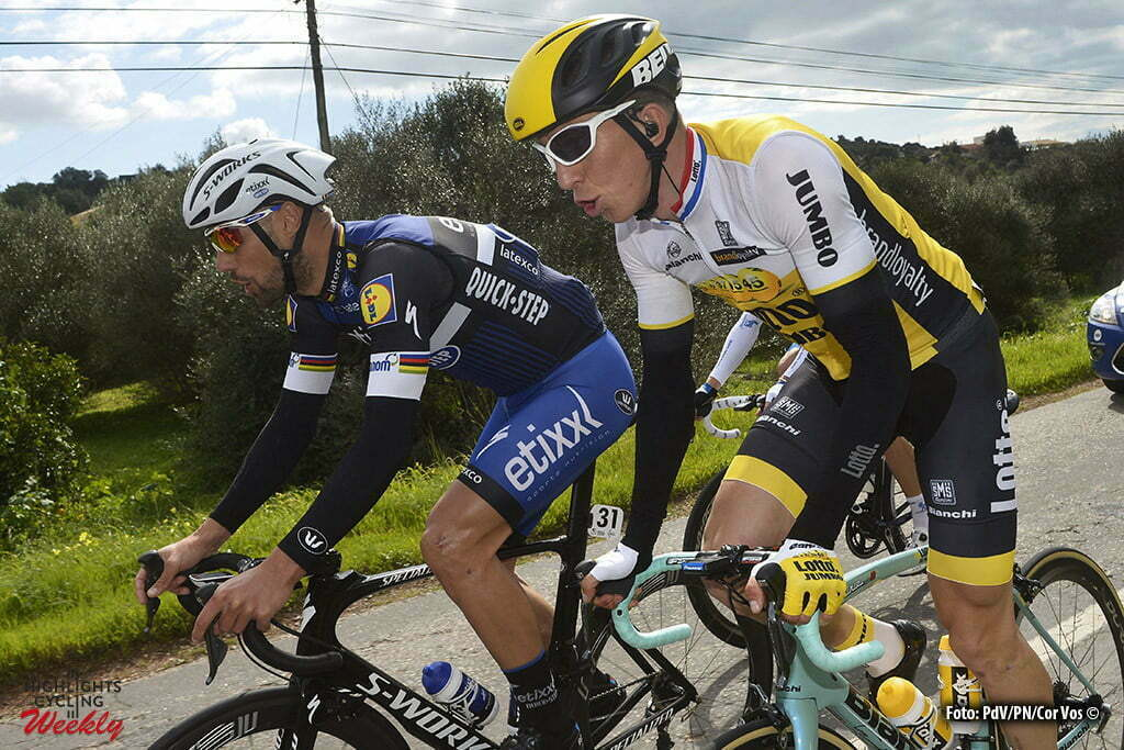 Albufeira - Portugal - wielrennen - cycling - radsport - cyclisme - Tom Boonen (Belgium / Team Etixx - Quick Step) - Sep Vanmarcke (Belgium / Team Lotto Nl - Jumbo) pictured during during stage 1 of the 42nd Tour of Algarve cycling race with start in Lagos and finish in Albufeira on February 17, 2016 in Albufeira, Portugal - photo PdV/PN/Cor Vos © 2016