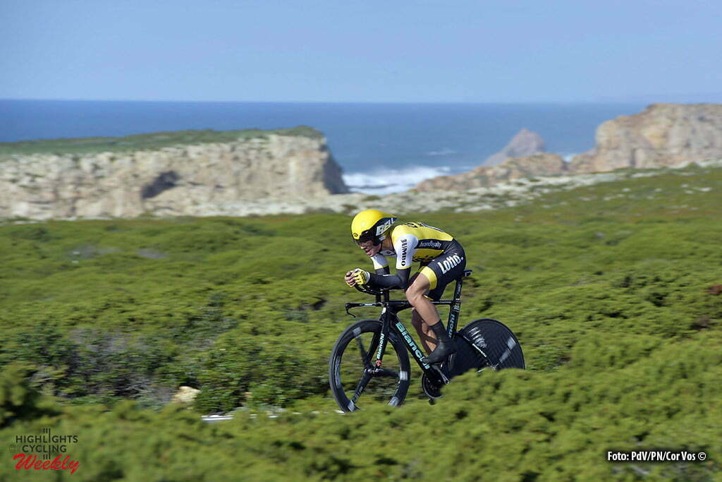 Sagres - Portugal - wielrennen - cycling - radsport - cyclisme - Primoz Roglic (Slowenia / Team Lotto Nl - Jumbo) pictured during stage 3 of the 42nd Tour of Algarve cycling race, an individual time trial of 18km, with start and finish in Sagres on February 19, 2016 in Sagres, Portugal. - photo PdV/PN/Cor Vos © 2016