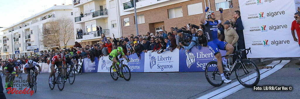 Tavira - Portugal - wielrennen - cycling - radsport - cyclisme - Kittel Marcel (Germany / Team Etixx - Quick Step) wins the sprint and Wouter Wippert (Netherlands / Cannondale Pro Cycling Team) second at the end of stage 4 of the 42nd Tour of Algarve cycling race with start in S. Brss de Alportel and finish in Tavira on February 20, 2016 in Tavira, Portugal - photo LB/RB/Cor Vos © 2016