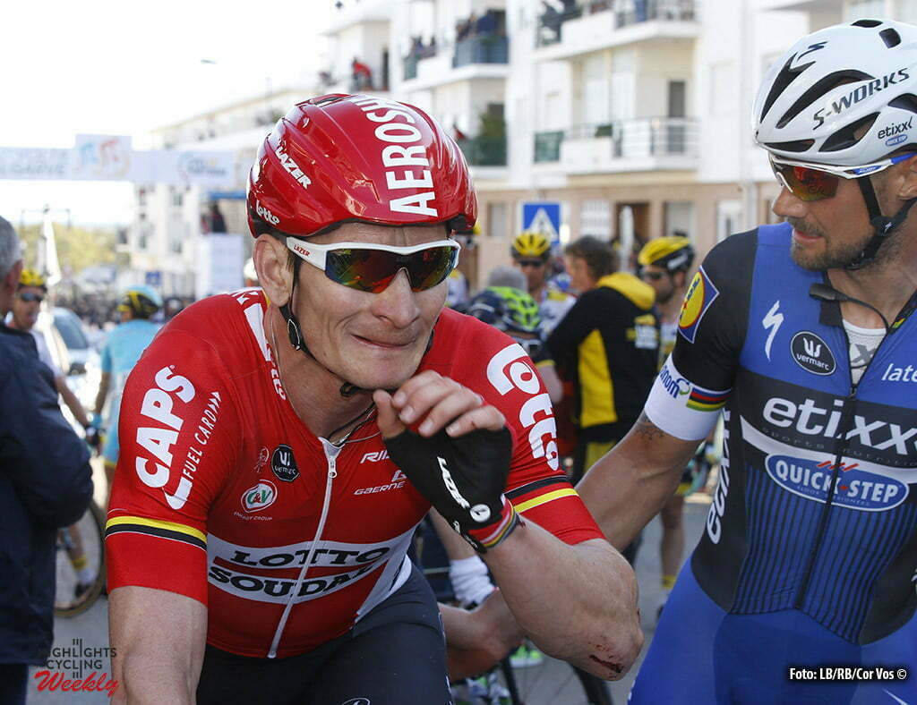 Tavira - Portugal - wielrennen - cycling - radsport - cyclisme - Andre Greipel (Lotto Soudal) - Tom Boonen (Belgium / Team Etixx - Quick Step) pictured during stage 4 of the 42nd Tour of Algarve cycling race with start in S. Brss de Alportel and finish in Tavira on February 20, 2016 in Tavira, Portugal - photo LB/RB/Cor Vos © 2016