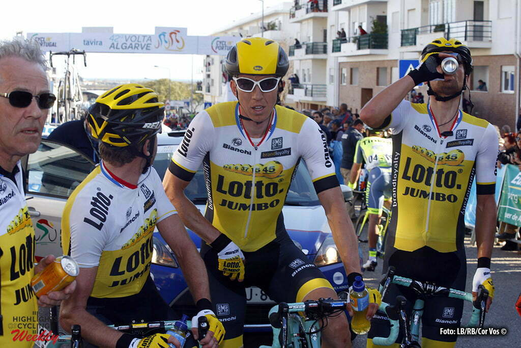 Tavira - Portugal - wielrennen - cycling - radsport - cyclisme - Dylan Groenewegen (Netherlands / Team Lotto Nl - Jumbo) - Sep Vanmarcke (LottoNL - Jumbo) - Victor Campenaerts (Belgien / Team Lotto Nl - Jumbo) pictured during stage 4 of the 42nd Tour of Algarve cycling race with start in S. Brss de Alportel and finish in Tavira on February 20, 2016 in Tavira, Portugal - photo LB/RB/Cor Vos © 2016