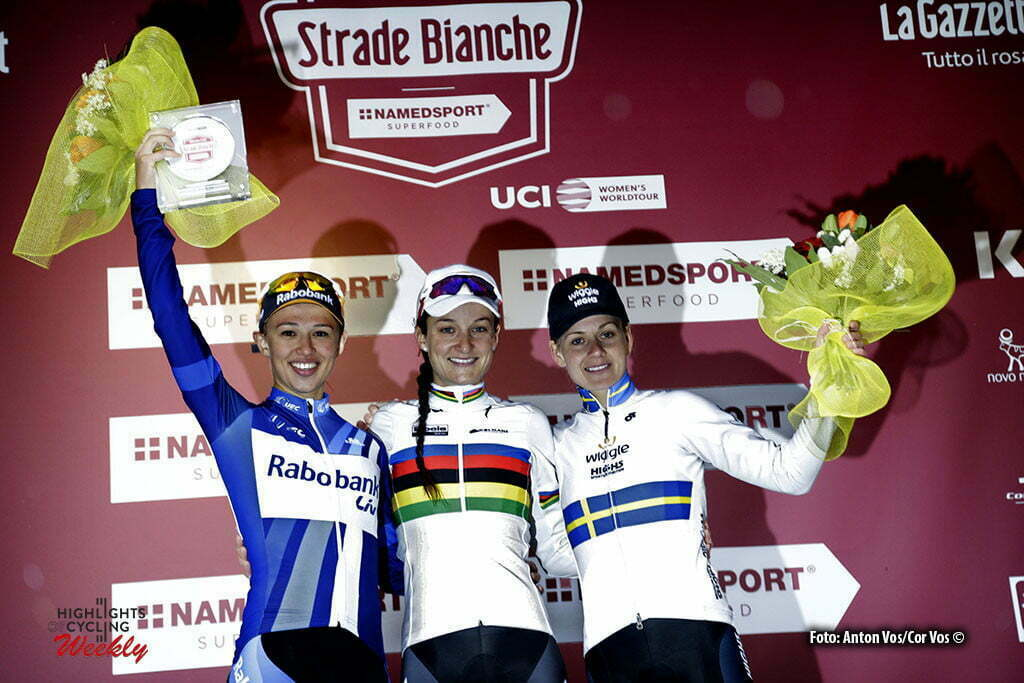 Siena - Italy - wielrennen - cycling - radsport - cyclisme - Armitstead Elizabeth Lizzie (Great Britain / Boels Dolmans Cycling Team) Niewiadoma Katarzyna Kasia (Poland / Rabobank Liv Women Cycling Team) Johansson Emma (Sweden / Wiggle High5) pictured during Strade Bianche women 2016 - photo Anton Vos/Cor Vos © 2016