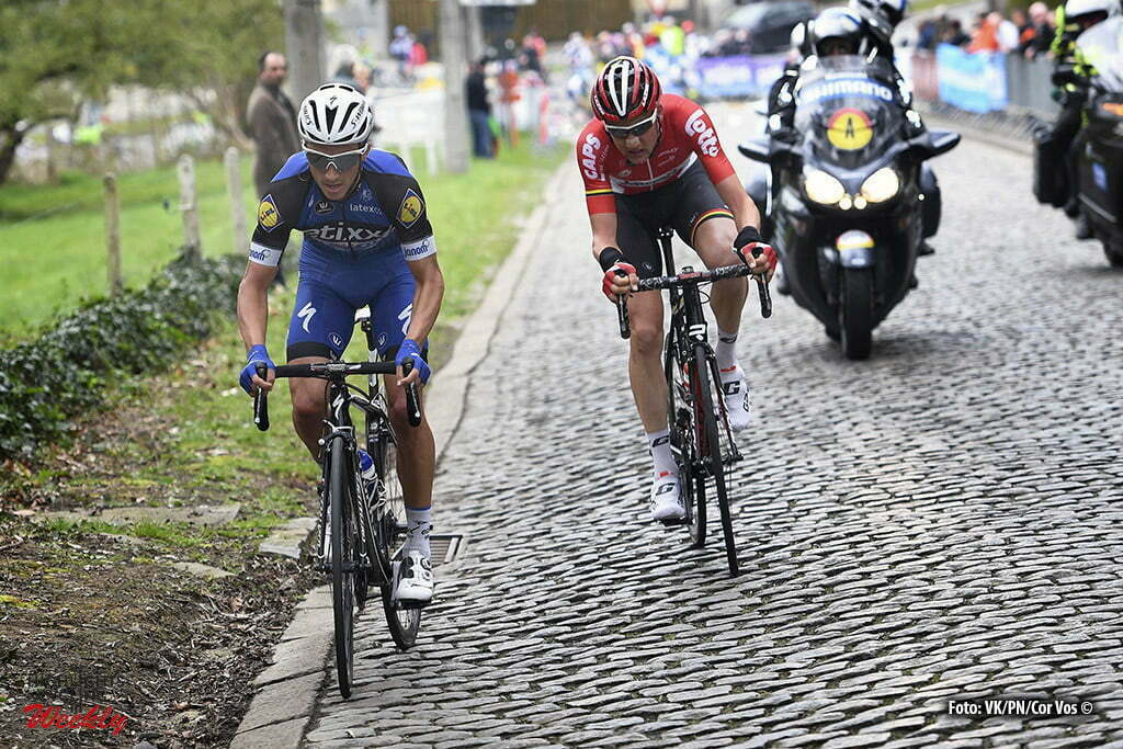 Overijse - Belgium - wielrennen - cycling - radsport - cyclisme - Tim Wellens (Belgium / Team Lotto Soudal) - Julian Alaphilippe (France / Team Etixx - Quick Step) pictured during the 56th Brabantse Pijl cycling race with start in Leuven and finish in Overijse (205 Km) on April 13, 2016 in Overijse , Belgium - photo VK/PN/Cor Vos © 2016