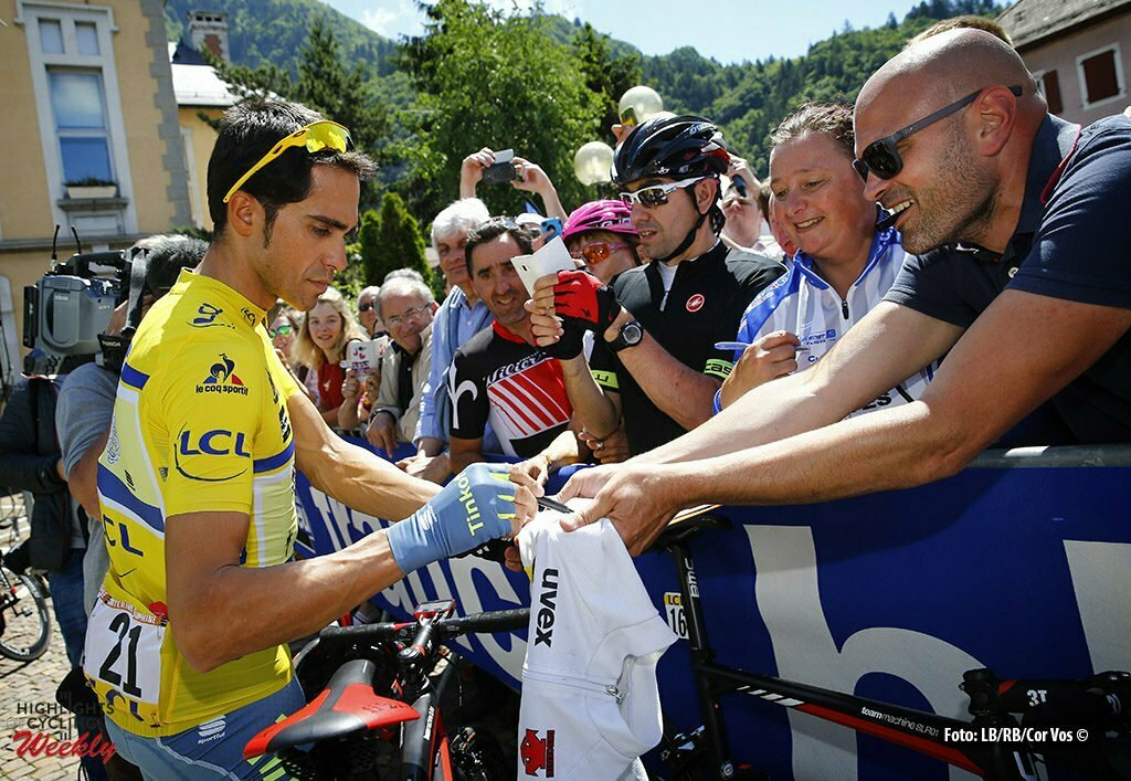 Saint-Vulbas- France - wielrennen - cycling - radsport - cyclisme - Alberto Contador (Tinkoff) pictured during stage 1of the Critérium du Dauphiné 2016 from Cluses to Saint-Vulbas (186 KM) - photo LB/RB//Cor Vos © 2016