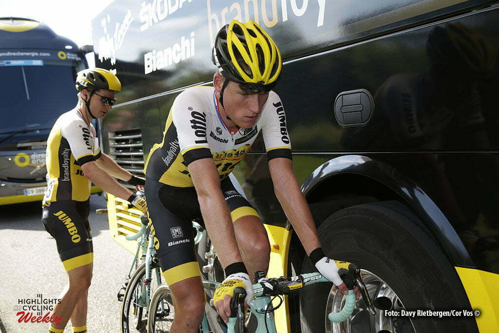 Saint-Vulbas- France - wielrennen - cycling - radsport - cyclisme - Mike Teunissen (Netherlands / Team LottoNL - Jumbo) - Moreno Hofland (Netherlands / Team Lotto Nl - Jumbo) pictured during stage 1of the Critérium du Dauphiné 2016 from Cluses to Saint-Vulbas (186 KM) - photo LB/RB//Cor Vos © 2016
