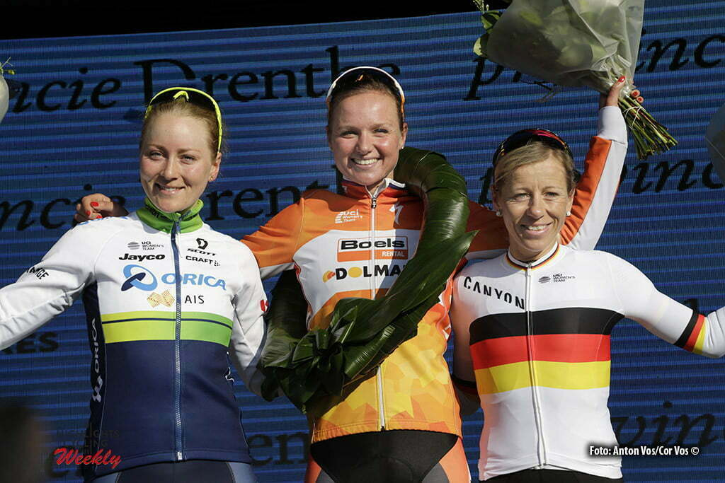 Hoogeveen - Netherlands - wielrennen - cycling - radsport - cyclisme - Blaak Chantal (Netherlands / Boels Dolmans Cycling Team) - Elvin Gracie (Australia / Orica AIS) Worrack Trixi (Germany / Canyon Sram Racing) pictured during the Women's World Tour Ronde van Drenthe in Hoogeveen - photo Anton Vos/Cor Vos © 2016