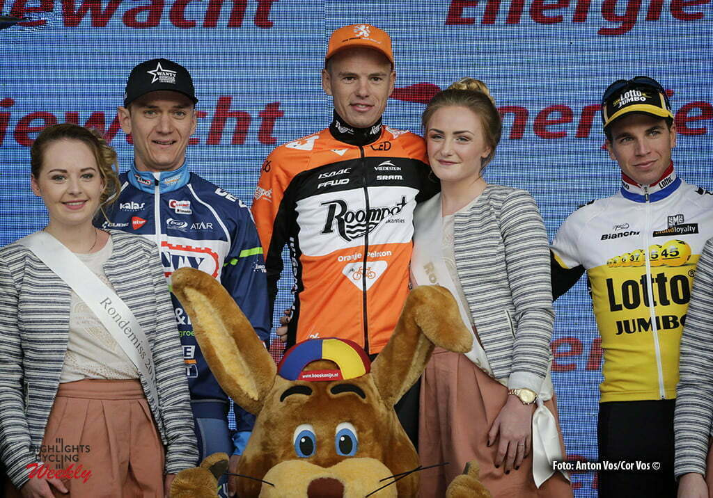 Hoogeveen - Netherlands - wielrennen - cycling - radsport - cyclisme - Asselman Jesper (Netherlands / Roompot - Oranje Peloton) Mcnally Mark (Great Britain / Wanty - Groupe Gobert) - Groenewegen Dylan (Netherlands / Team Lotto Nl - Jumbo) Femmy pictured during the Energiewacht Ronde van Drenthe 2016 men elite in Hoogeveen,- photo Anton Vos/Cor Vos © 2016